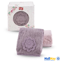 Подарочный набор полотенец TAC, с вышивкой/махровый, 480 г/м2 LINA,  сиреневый-розовый