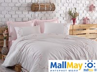 10066 Комплект постельного белья DANTELA VITA сатин с вышивкой JENNA  пудра