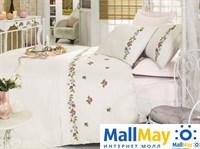 10069 Комплект постельного белья DANTELA VITA сатин с вышивкой KANAVICE  пудра