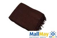Плед шерсть мериноса коричневый 100% шерсть 140x200