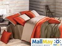 ANNETTE Комплект постельного белья Orange/Оранжевый, страйп-сатин, 200ТС,  евро
