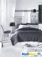 COSMOPOLIT Комплект постельного белья Тёмно-серый-белый, сатин, 200ТС,  евро