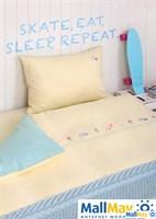 Комплект постельного белья 'SKATEGIRLS', цвет:банановый/мятный