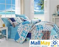 8022 Комплект постельного белья  COTTON LIFE 1,5 сп.  PATCHWORK голубой
