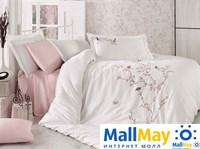 9345 Комплект постельного белья DANTELA VITA сатин с вышивкой BUTTERFLY кремовый