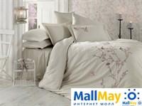9345 Комплект постельного белья DANTELA VITA сатин с вышивкой BUTTERFLY бежевый