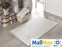 2572 Коврик махровое для ванной 'IRYA' кружевной ROSE 60x90 см 1/1 Mолочный