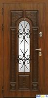 Входная уличная дверь Сударь Рим с окном и ковкой (Голден Оак Винорит / Алмон 25)